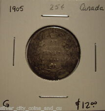 Canada Edward VII 1905 Silver Twenty Five Cents - G