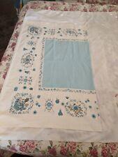 """Vintage White Blue Fruit Floral Print Tablecloth Cotton 63"""" x 51"""""""