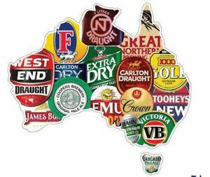 STICKER Australia Beer Map BUMPER STICKER VB Tooheys XXXX Emu JAMES BOAG