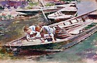 Two in a Boat by American  Theodore Robinson. Canvas Life Art. 13x19 Print