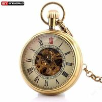 Vintage Windup Retro Glass Mechanical Pocket Watch Chain Pendant Open Face Gift