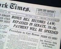BONUS ACT World War I Veterans Compensation Bill $$ Becomes Law 1936 Newspaper