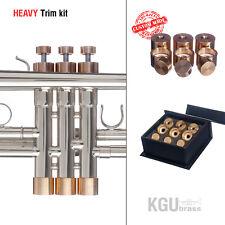 Trumpet Trim Kit KGUBrass. HEAVY Caps. Raw Brass. TKHR100 ** Custom parts **
