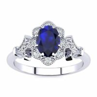 14 K Gold 1 Carat Oval Shape Sapphire and Halo Diamond Vintage Ring- in 3 Colors