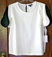 Victoria Beckham Black White Scallop Knit Top Shirt Size 2X NWT Free Shipping