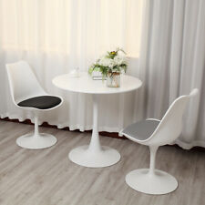 """31.5"""" Tulip End Table Round Wood Dining Table Metal Base Home Furniture White"""