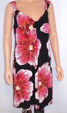 DBY Ltd. Black V-Neck Sundress Red & White Floral Print & Trim Sz. 16 Sleeveless