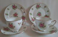 Charming 2X Adderley ~ Pink Roses / Gilt Tea Trios.1947-50 Date Mark.
