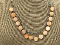 Vintage Style Necklace Mother of Pearl Orange Small Coin Silver Charm Choker