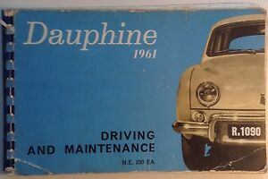 Renault Dauphine 1961 English language original handbook Publication No. NE850EA