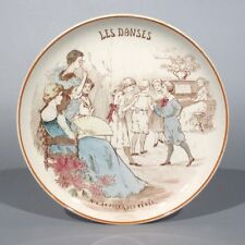 Antique French Creil & Montereau Porcelain Plate, Dance, Children, Ladies,Piano