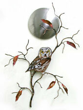 Saw Whet Owl w/ Stainless Steel Moon Metal Wall Art Sculpture by Bovano W408