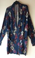 Lane Bryant Womens 22/24 Long Sleeve Open Maxi Cardigan Blue Maroon Floral Print