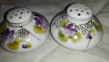 Sweet Violets Salt and Pepper Shakers Hand Painted Porcelain with Gold Trim