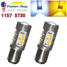 2x White/Amber 1157 5730 20-SMD Switchback LED Light Bulbs Tail Brake 1142 7528