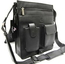 Upright Messenger Shoulder Bag Organiser Real Leather Black Visconti New 18410