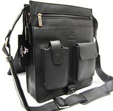 Large Messenger Organiser Shoulder Bag Real Leather Black Visconti New 18410