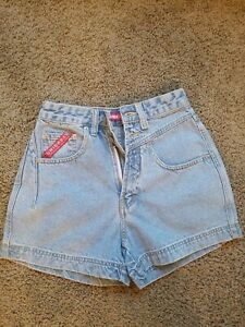 NWT Union Bay UB Red Denim Jean Shorts Juniors Size 5 Mom Jorts Light Blue Vtg