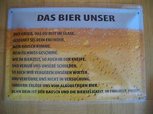 Blechschild Bier DAS BIER UNSER ca.20x 30cm gross gewölbt