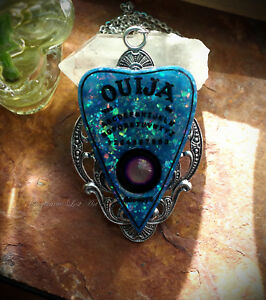 Faux Blue Opal Ouija Spirit Board Planchette Mood Necklace Goth/Occult/Witch