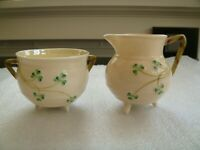 BELLEEK SHAMROCK KETTLE CREAMER & SUGAR SET REG. NO. 0857