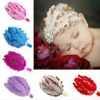 New Cute Baby Girl Infant Toddler Feather Pearl Headband Lace Flower Hair Band