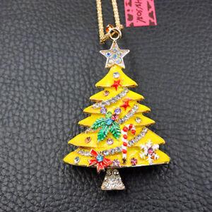 New Betsey Johnson Yellow Enamel Crystal Christmas Tree Pendant Chain Necklace
