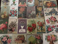 ~ Lot of 25 Flowers in Vases & Baskets ~Vintage Floral~ Greetings Postcards-c169