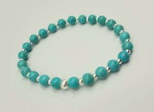 Sterling Silver 925 bead Bracelet stacking with turquoise beads