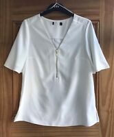 Ladies Brand New White V-Neck Zip Front Blouse Work Business Top Size 6 - 22