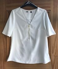 Ladies Brand New White V-Neck Zip Front Blouse Work Business Top Size 6 - 16