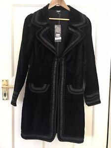 Ladies Black Velvet Designer Jacket/coat Size 38