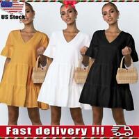 Womens Casual Summer V Neck Smock Dress Holiday Beach Ruffle Frill Mini Dresses