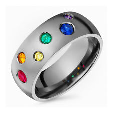 Titanium Engagement Band Multi Colored Gemstone Ring 8mm Wide for His N Her