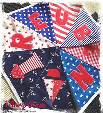 Baby Boy Personalised NAME BUNTING/BANNER Bright Colours, ReD, BluE Nautical