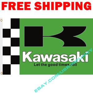 KAWASAKI LET THE GOOD TIMES Banner Flag 3x5 ft Racing Car Show Garage Wall Decor