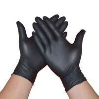 100 X Comfortable Rubber Disposable Mechanic Nitrile Gloves Black Medical AT