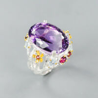 Handmade33ct+ Natural Amethyst 925 Sterling Silver Ring Size 8.75/R124094