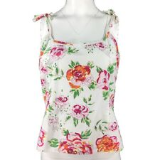 LYSGAARD White Pink Green Orange Floral Cotton Strappy Holiday Vest Top M