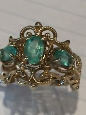 10 K Yellow Gold Three Stone Synthetic Emerald Ring3.2Grams. Filigreesize6