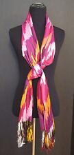 Roberta Freymann | Tangerine | Magenta and Pink 100% Raw Silk Ikat Scarf