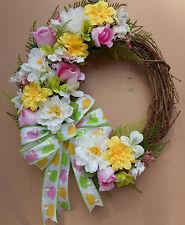 "17"" Pastel Easter Floral Door Grapevine Wreath"