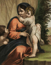 MADONNA COL BAMBINO A. Carracci - Incisione Originale 1800 Holy Virgin Child