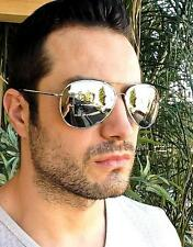 Mens Large Silver Aviator Mirror Lens Hipster Trendy Cool Sunglasses 215 SLV