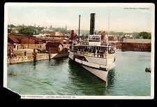 c1910 steamer ship Ticonderoga leaving Burlington Vermont postcard
