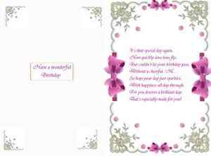 15 Bow designed verse  inserts for A5 cards