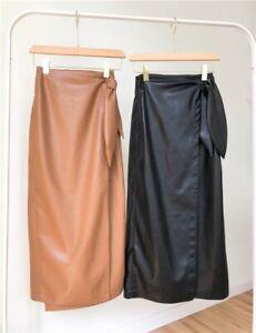 Faux leather mid-length skirt tie dress long leather skirt skirt
