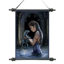 Enchanted Elven Fair Maiden & Water Dragon Scroll Tapestry Mythical Wall Hanging
