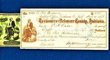 1862 $20 NOTE VIGNETTE IN GOLD on 1878 DELAWARE COUNTY WARRANT CHECK $8.35 *NoR