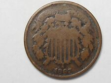 Better-Date 1867 US Two Cent Coin. 2¢. #34
